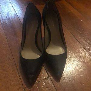 Ann Taylor Black Leather High Heel Shoes